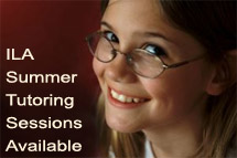 Image of smiling young girl's face with text ILS summer tutoring sessions available