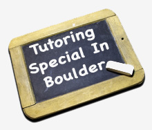 Graphic of chaulkboard with text: tutoring special in boulder