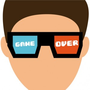 Graphic of screen time addiction red blue glasses on cartoon face with game over on the lenses