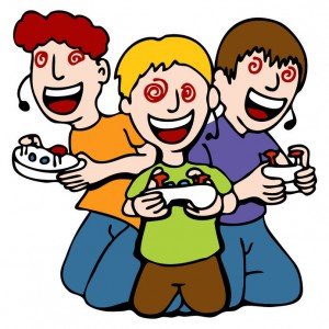 Graphic of three kids playing with video hand controllers