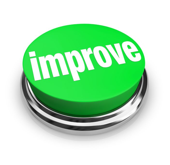 A graphic of a large green button with the word improve written on it